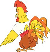 folk rooster character