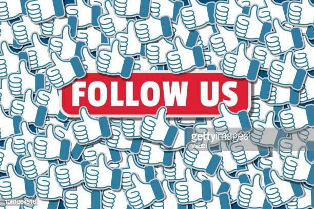 follow us social media networking likes - following stock illustrations