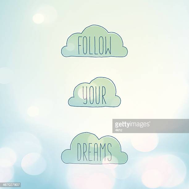 Follow Your Dreams Clouds Blissful Dreamy Sky Lens Flares Background