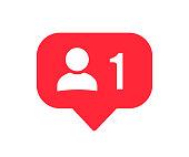 Follower notification icon. Social network 1 follower. Social media user icon. Stories user button sign – stock vector