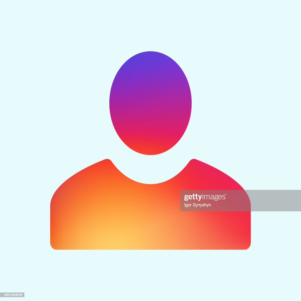 Follower or user gradient icon isolated on blue background. App Icon Template. Vector Gradient Fresh Color