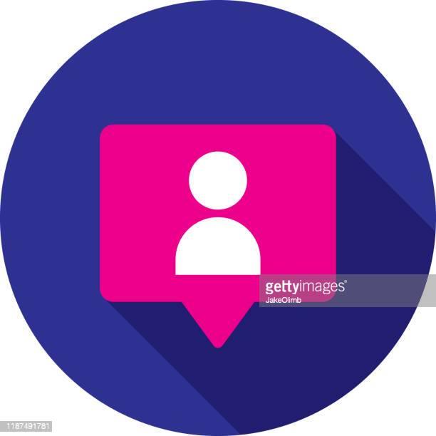 follower speech bubble icon flat circle - social media followers stock illustrations