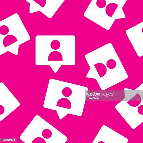 follower speech bubble pattern silhouette - social media followers stock illustrations