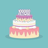 100K followers celebration. Cute layered cake covered with icing / flat editable vector illustration, clip art