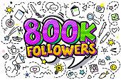 800K followers illustration in pop art style.