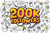 200K followers illustration in pop art style.
