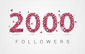 2000 (two thousand) followers. Origami birds. Vector