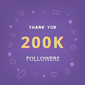 200K followers thank you banner. Vector illustration.