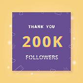 200K followers thank you. Vector illustration.