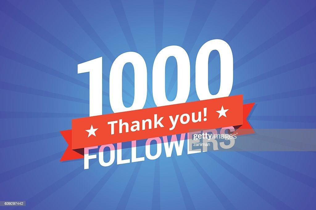 1000 followers vector illustration.