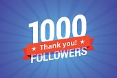 1000 followers vector illustration.