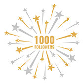 1000 followers, vector illustrations with golden and silver fireworks