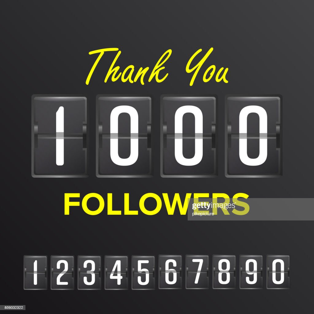 1000 Followers Vector. Thanks Design Template. Social Network Concept. Illustration