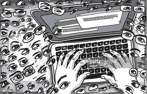Followers Watching what is being Typed on Keyboard Illustration