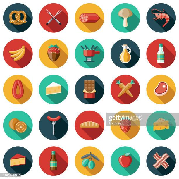 fondue icon set - dipping stock illustrations, clip art, cartoons, & icons