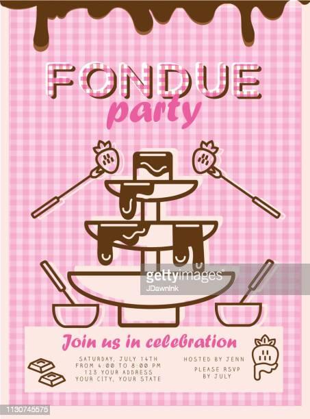 fondue party invitation design template - fountain stock illustrations, clip art, cartoons, & icons