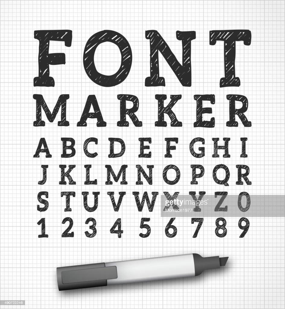 Font alphabet marker effect vector