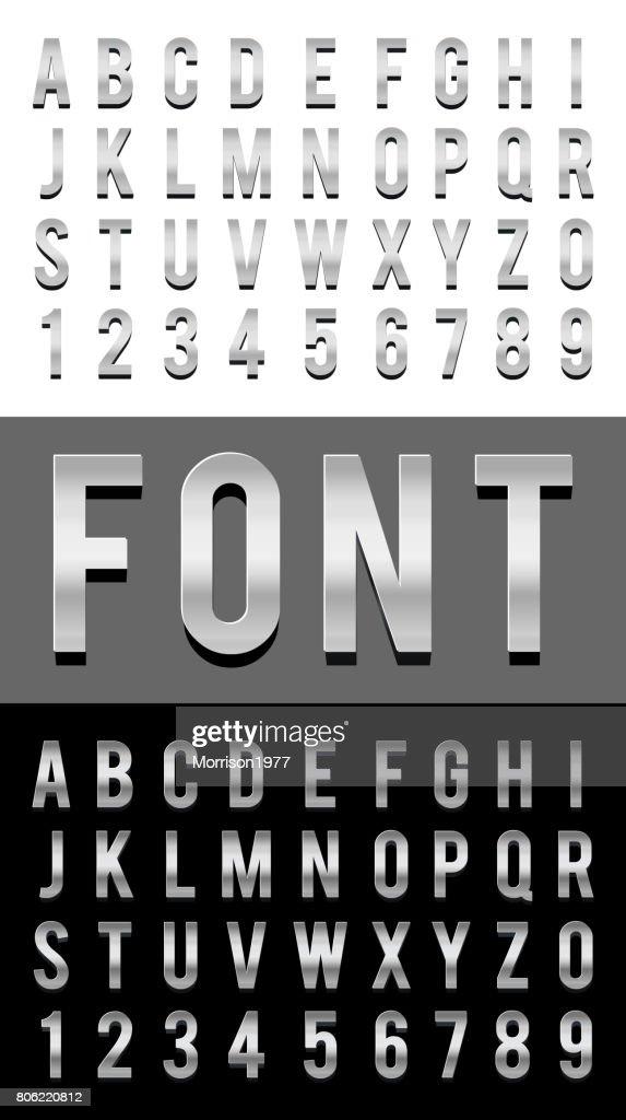 font alphabet metal chrome vector