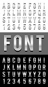 font alphabet metal chrome vector