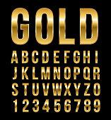 Font alphabet number gold effect vector