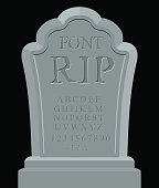 RIP font. Ancient carved on tombstone of ABC. Tomb alphabet.