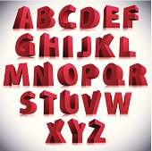 3D font, big red letters standing.