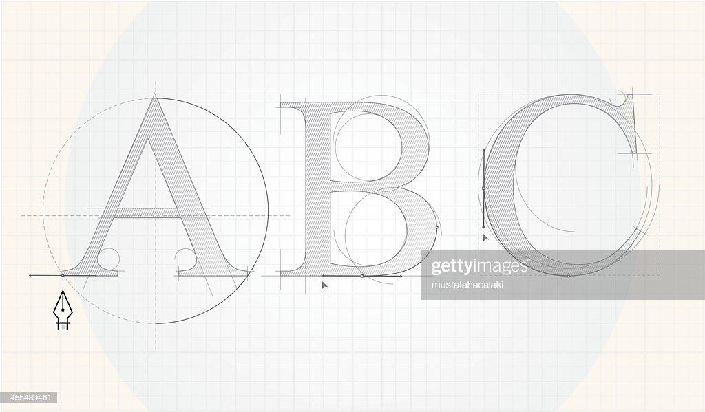 Font designing : stock illustration