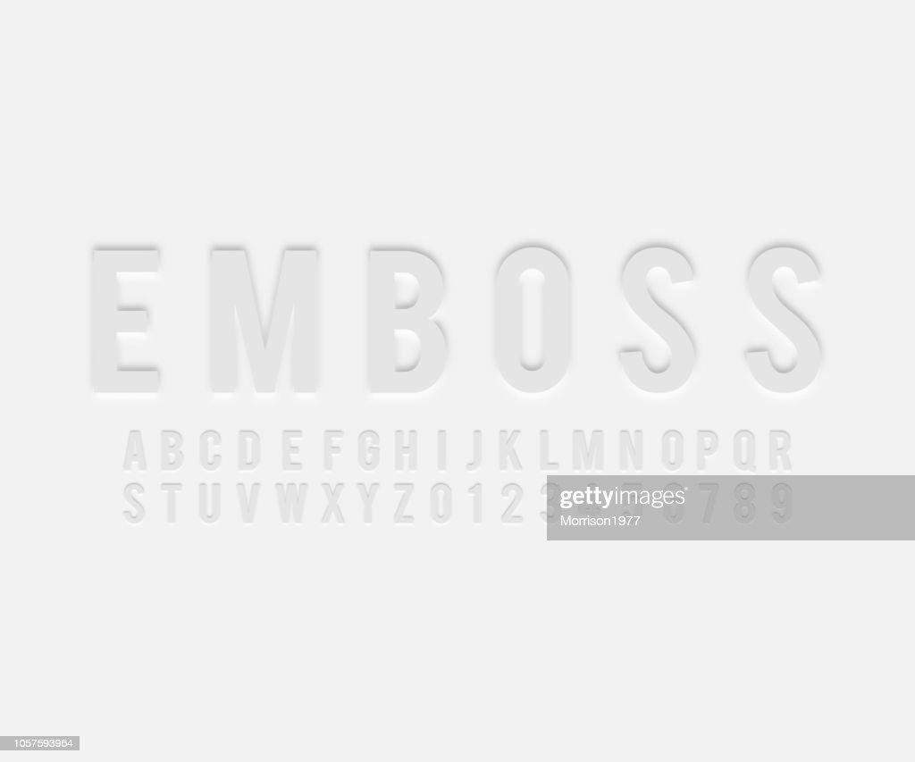 font emboss effect vector