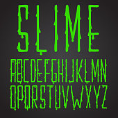 Font green slime hand drawn tall and narrow