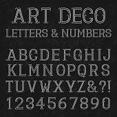 Font in art deco style. Vintage alphabet.