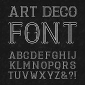 Font in art deco style. Vintage latin alphabet