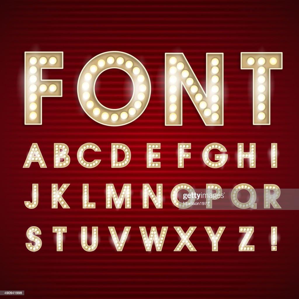 Font light bulb alphabet vector