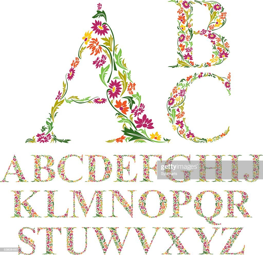 Font made with leaves, floral alphabet letters set, vector