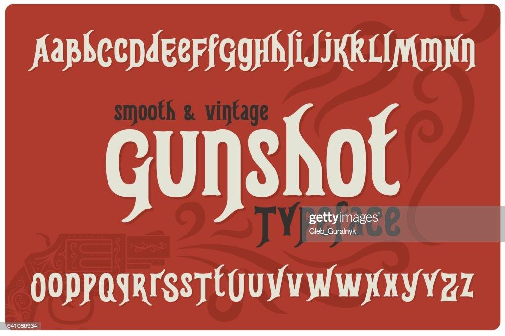 Font named 'Gunshot Typeface' with ornament illustration of a gun.