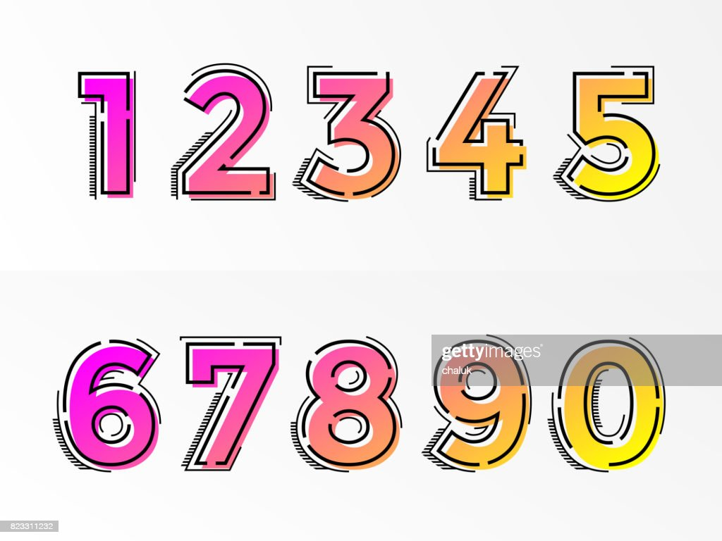 Font numbers set numeral letters vector gradient color line