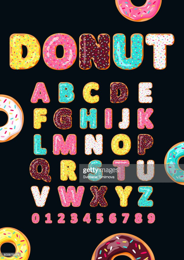 Font of donuts. Bakery sweet alphabet.