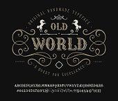 Font Old World. Vintage letter and number