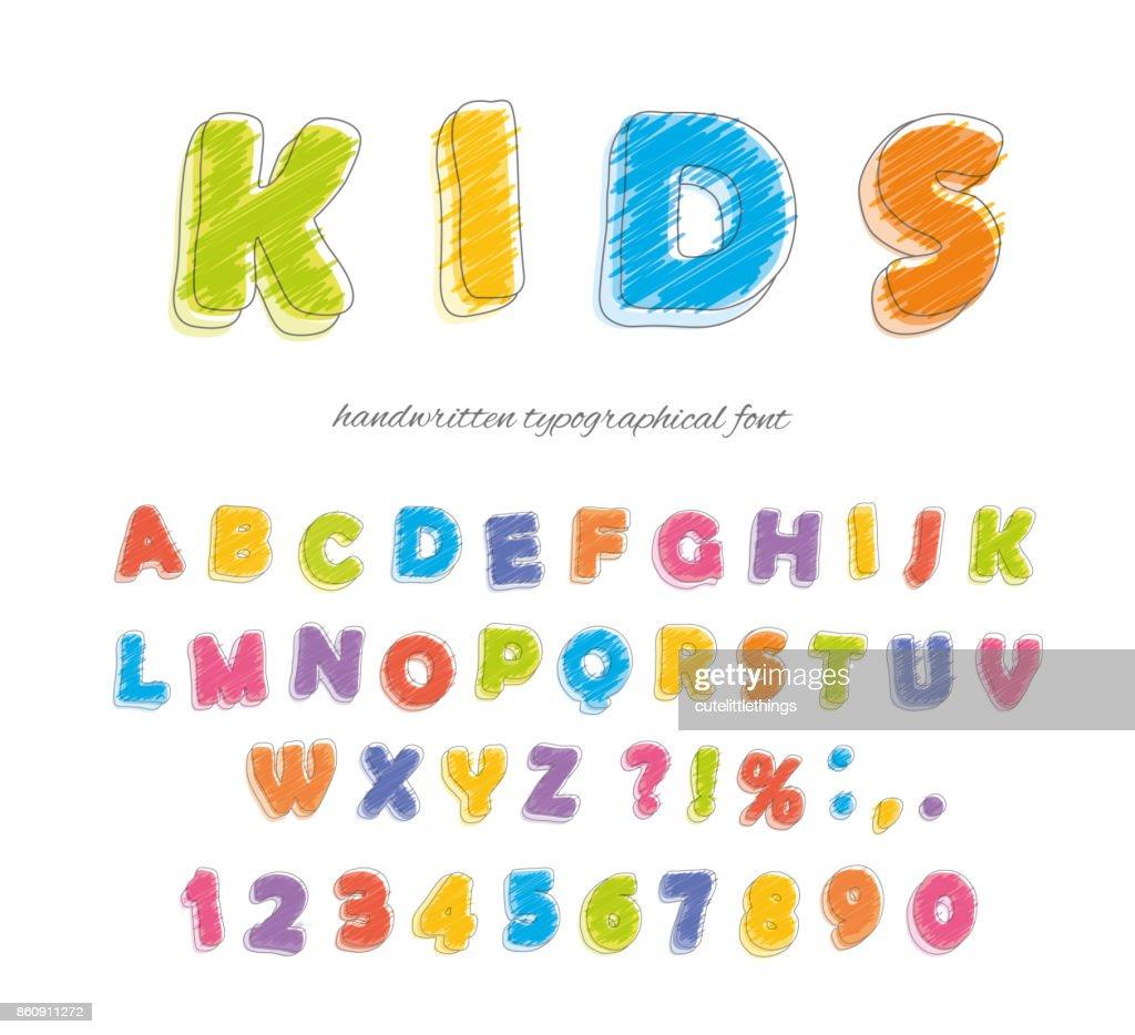 Font pencil crayon. For kids. Handwritten, scribble. Vector