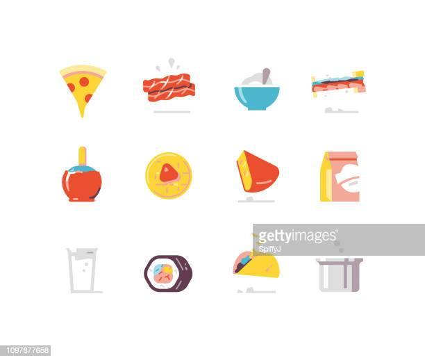 food 1 - prepared food flat icons - breakfast cartoon stock illustrations