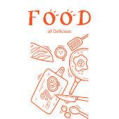 Food All Delicious Kitchenware Orange Background Vector Image