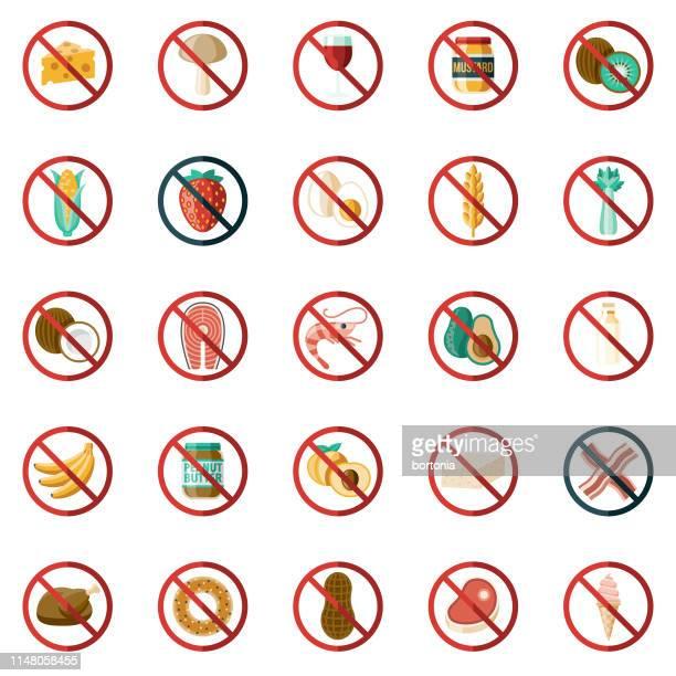 食品アレルゲンアイコンセット - アレルギー点のイラスト素材/クリップアート素材/マンガ素材/アイコン素材