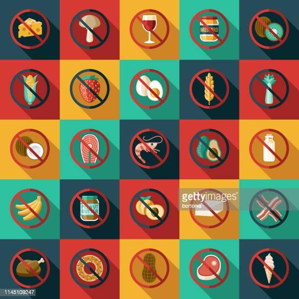 食物アレルギーと感性アイコンセット - アレルギー点のイラスト素材/クリップアート素材/マンガ素材/アイコン素材