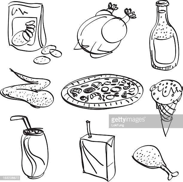 ilustraciones, imágenes clip art, dibujos animados e iconos de stock de & colección de alimentos bebidas en blanco y negro - pollo asado