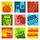 food & shopping set - pop art
