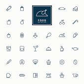 32 food and beverage line icons