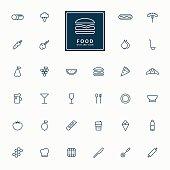 32 food and beverage minimal line icons