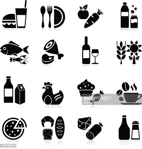 food and beverages - icon set - unhealthy eating stock illustrations