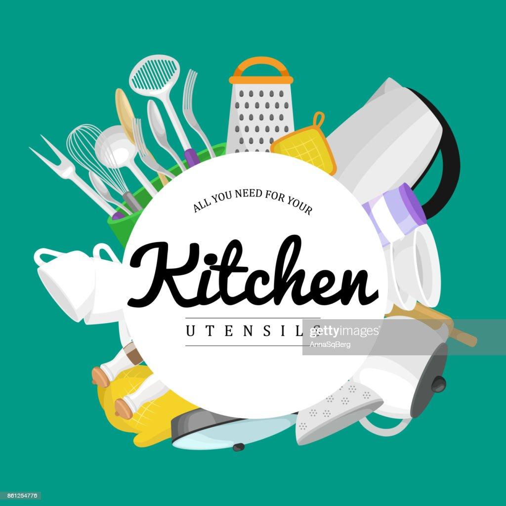 Essen Und Kochen Banner Set Mit Geschirr Geschirr Küche Werkzeuge ...