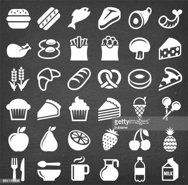 food and diet  vector icon set on chalkboard - pretzel stock illustrations, clip art, cartoons, & icons