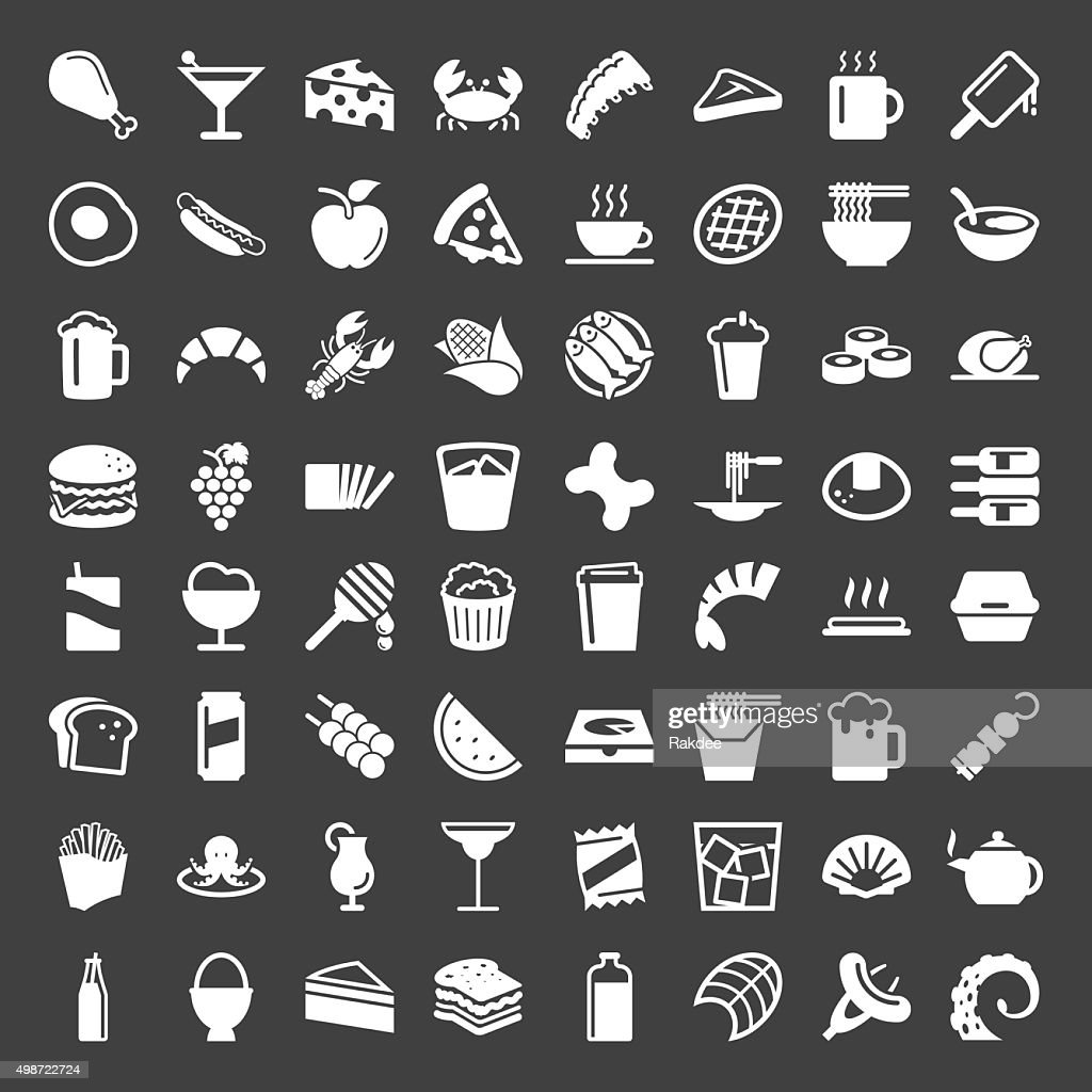 Food and Drink 64 Icons - White Series